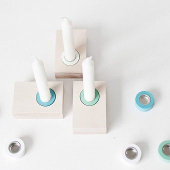 Kerzenständer Lilli - 3 weiß/türkis/lindgrün