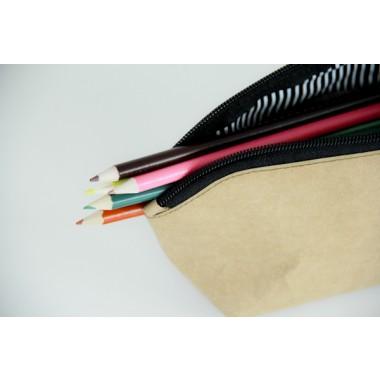 Federmappe, Etui, Kulturtasche aus Kraft Papier, waschbar und handgefertigt BY COPALA.