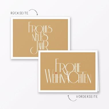 """TYPOP 2-teiliges Set Design WEIHNACHTSKARTE """"Fröhliche Weihnachten"""" GOLD Klappkarte A6 inkl. Umschlag"""