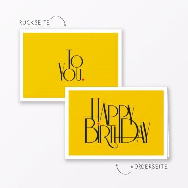 """TYPOP 2-teiliges Set Design GEBURTSTAGSKARTE """"Happy Birthday to You"""" Klappkarte A6 inkl. Umschlag"""