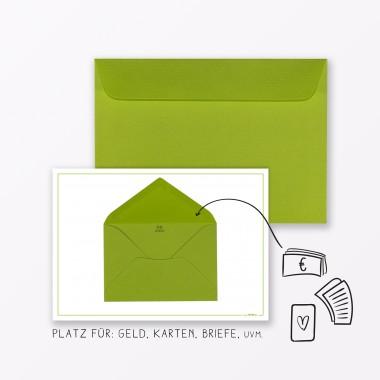 """TYPOP Design GLÜCKWUNSCHKARTE 3-teiliges Set """"Glücklichen Herzwunsch"""" in Grün inkl. Umschlag"""