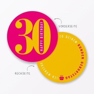 """TYPOP 4-teiliges Set Design GEBURTSTAGSKARTE """"Runder Geburtstag 30, 40, 50, 60"""" rund"""
