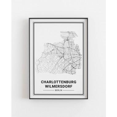 BERLIN Charlottenburg Wilmersdorf Poster Stadtplan