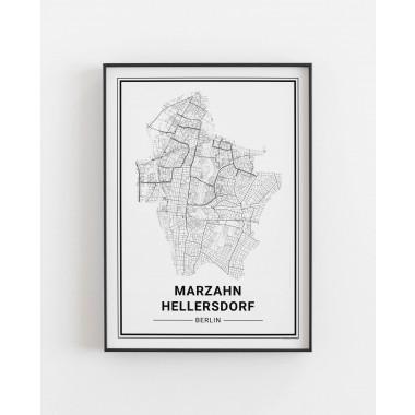 BERLIN Marzahn Hellersdorf Poster Stadtplan