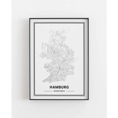 HAMBURG Wandsbek Poster Stadtplan