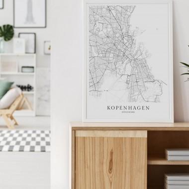 Kopenhagen Karte als hochwertiger Print - Posterdruck im skandinavischen Stil Skanemarie