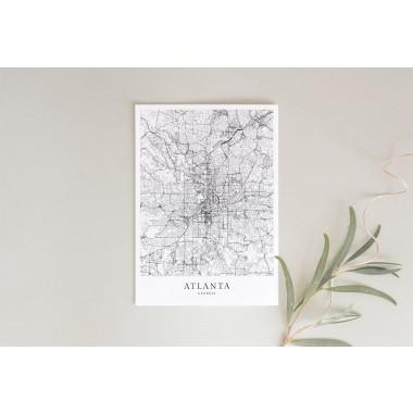 Karte ATLANTA als Poster im skandinavischen Stil von Skanemarie +++ Geschenkidee zu Weihnachten