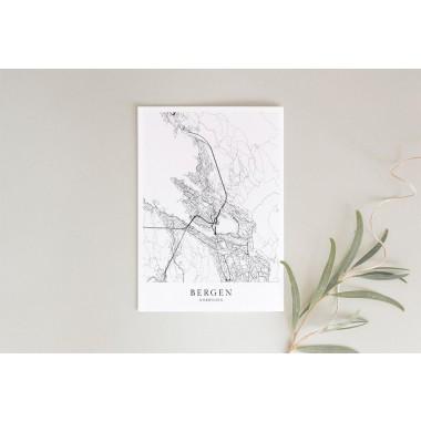 Karte BERGEN und Norwegen als Print im skandinavischen Stil von Skanemarie +++ Geschenkidee zu Weihnachten