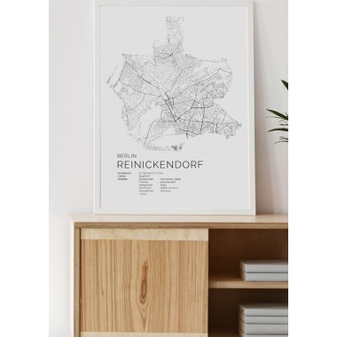 Karte BERLIN Reinickendorf als Print im skandinavischen Stil von Skanemarie +++ Geschenkidee zu Weihnachten