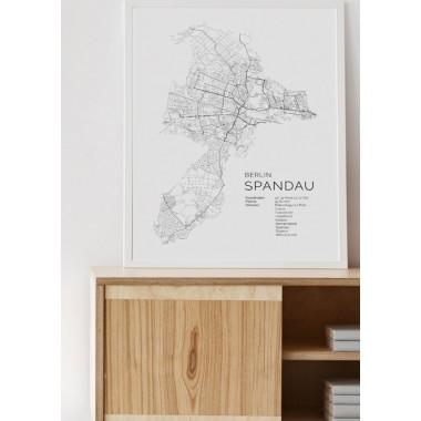 Karte BERLIN SPANDAU als Print im skandinavischen Stil von Skanemarie +++ Geschenkidee zu Weihnachten