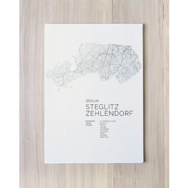 Karte BERLIN Steglitz Zehlendorf als Print im skandinavischen Stil von Skanemarie +++ Geschenkidee zu Weihnachten
