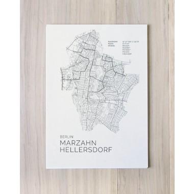 Karte BERLIN Marzahn Hellersdorf als Print von Skanemarie