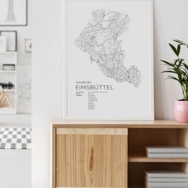 Hamburg Eimsbüttel Karte als hochwertiger Print - Posterdruck im skandinavischen Stil von Skanemarie