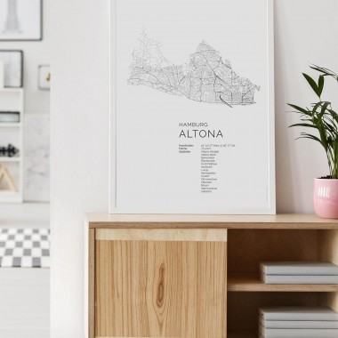 Hamburg Altona Karte als hochwertiger Print - Posterdruck im skandinavischen Stil von Skanemarie