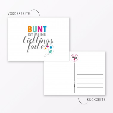 "TYPOP Postkarte ""Bunt ist meine Lieblingsfarbe"" DIN A6"