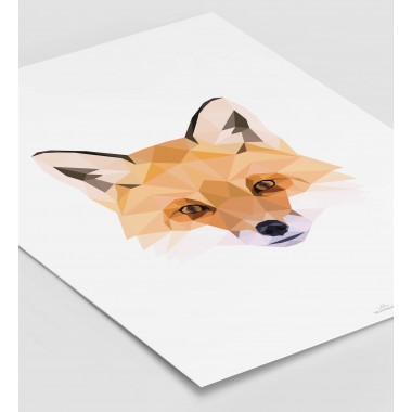 FUCHS Poly Art als hochwertiger Print im minimalistischen Stil von Skanemarie +++ Geschenkidee +++ Poster, Wandbild
