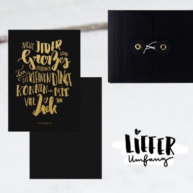Kleine Papeterie // Die kleinen Dinge // edle Grußkarte // goldene Heißfolienprägung
