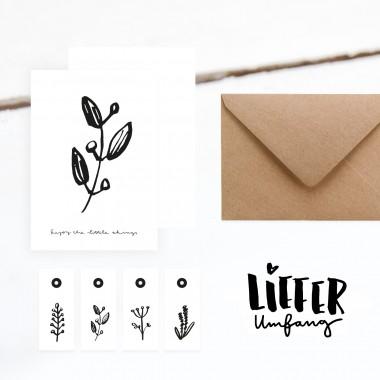 Kleine Papeterie // Set Karte & Geschenkanhänger // Pflanzen // 600g Papier