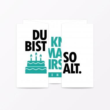 """TYPOP2-teiliges Set Design GEBURTSTAGSKARTE """"Du bist so alt"""" Faltkarte inkl. Umschlag"""