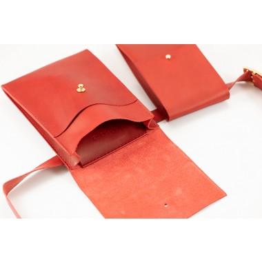 Leder Gürteltasche 3 in 1, Rot