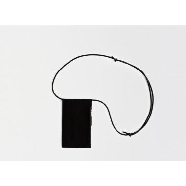 Leder Handytasche zum umhängen / Brustbeutel, schwarz