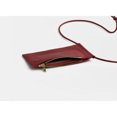 Leder Handytasche zum umhängen / Brustbeutel, rot