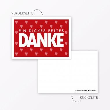 """TYPOP Postkarte """"Danke"""" mit Herz ROT A6"""