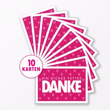 "TYPOP Postkarte ""Danke"" mit Herz PINK A6"