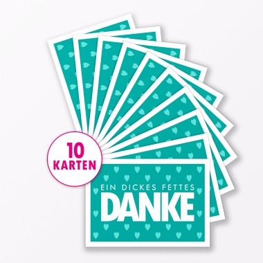 """TYPOP Postkarte """"Danke"""" mit Herz TÜRKIS A6"""