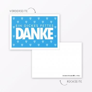 "TYPOP Postkarte ""Danke"" mit Herz BLAU A6"
