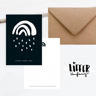Kleine Papeterie // Spenden-Postkarte // Listen. Learn. Love.