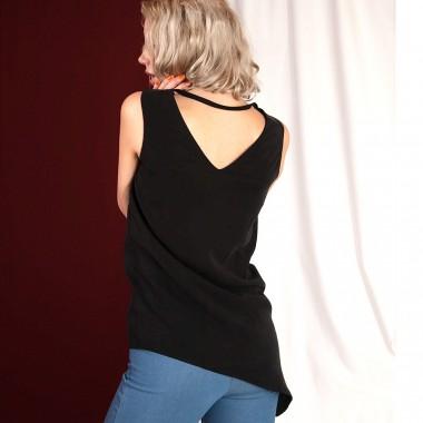 """WiDDA - asymmetrische Bluse """"Nena"""" aus Tencel in Schwarz"""