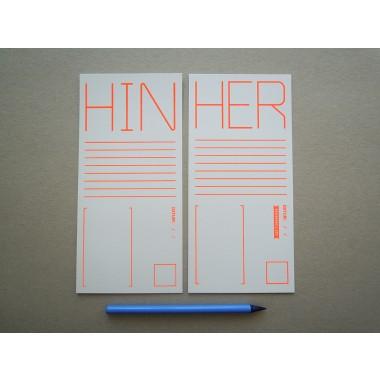 HIN & HER, Postkarte, 2er-Set, 99 x 210 mm, Siebdruck, Leuchtorange
