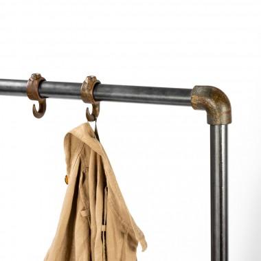 Vintage Kleiderständer aus historischer Eiche und Stahl
