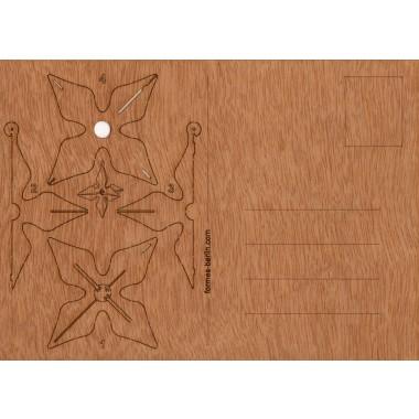 Postkarten aus Holz - 6 3D-Stern-Karten