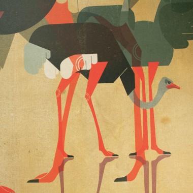 KLEINWAREN / VON LAUFENBERG Set 10 / Ostriches + Magnetische Posterleiste 50 cm