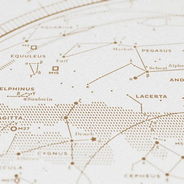 Map I — The Northern Sky (Gold/White), Siebdruck