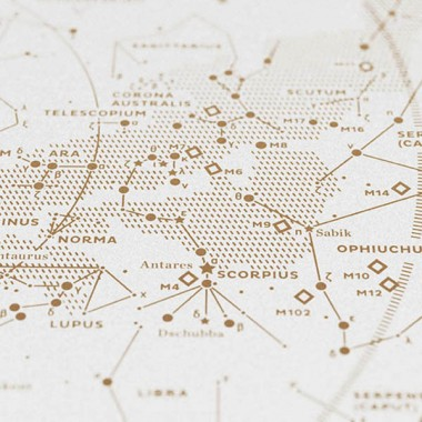Map II — The Southern Sky (Gold/White), Siebdruck