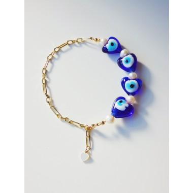 Valerie Chic - EVIL EYES Herz Armband - 18 Karat vergoldet