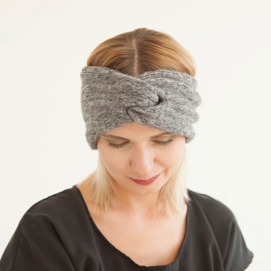 """WiDDA - Woll-Stirnband """"Gilda"""" in Grau Melange"""