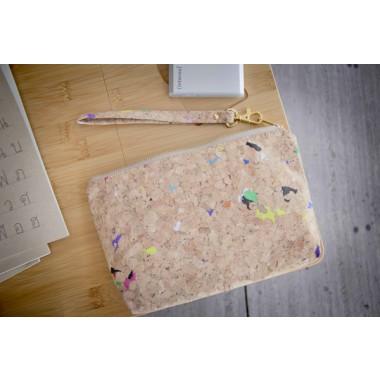 Kleines Täschchen aus Kork mit farbigen Akzenten, Kosmetiktasche BY COPALA