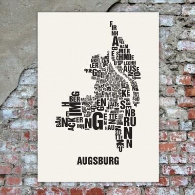 Buchstabenort Augsburg Poster Typografie Siebdruck