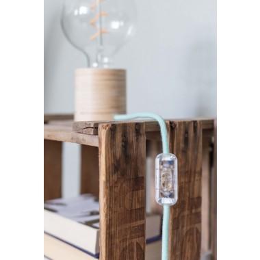 """Lichtliebe Tischleuchte """"Fafoo"""" in weiß und mint meliert inkl. Edison Spiral LED im Retro Design mit nur 1,8 Watt"""