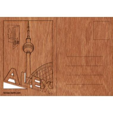 Postkarten aus Holz - 6 Alexanderplatz Karten