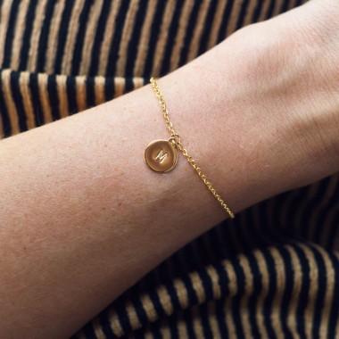 Handgeprägte Armkette »Letter« weißvergoldet mit Buchstabe inkl. Box