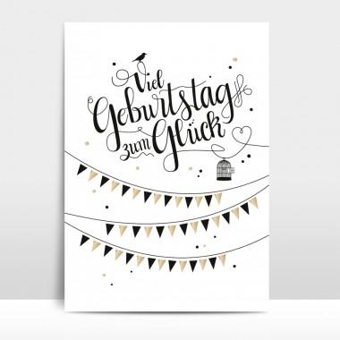 "Amy & Kurt Berlin A4 Artprint ""Viel Geburtstag zum Glück"""