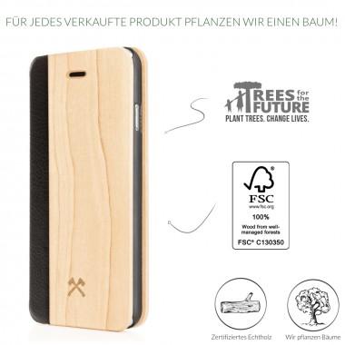 Woodcessories - EcoFlip Case - Premium Design Hülle, Case, Cover für das iPhone 6 Plus / 6s Plus aus FSC zert. Holz & veganem Leder & veganem Leder (Walnuss, Ahorn)