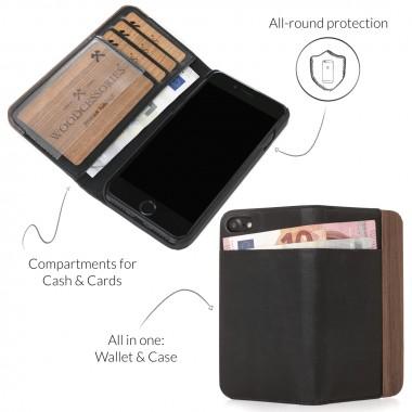Woodcessories - EcoWallet - Premium Design Hülle, Case, Cover für das iPhone aus FSC zert. Walnuss Holz & veganem Leder (iPhone 6/ 6s)