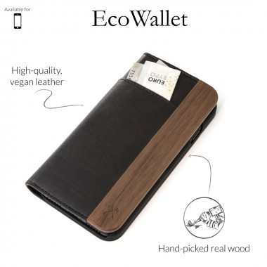 Woodcessories - EcoWallet - Premium Design Hülle, Case, Cover für das iPhone aus FSC zert. Walnuss Holz & veganem Leder (iPhone 7/ 8)