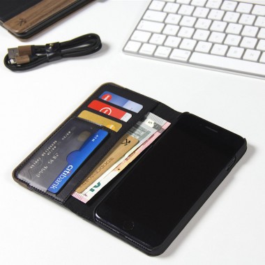 Woodcessories - EcoWallet - Premium Design Hülle, Case, Cover für das iPhone aus FSC zert. Walnuss Holz & veganem Leder (iPhone X)
